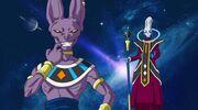 Beerus e Whis nello spazio dopo aver distrutto un pianeta