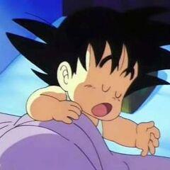 Son Goku bambino che dorme alla Kahe House.