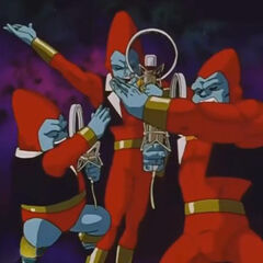 I fratelli Parapara in smoking comunicano telepaticamente con Goku.