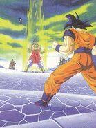 Goku observa a broly transformandose