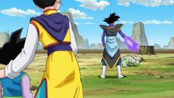 Goku usando cosplay mata Zamasu e Chichi