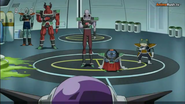 DXRD Caption of Sorbet's Third Stellar Region Army elites in front of the newly revived Frieza (Tagoma, Shisami, Frog-Subordinate & bouncers) - Dragon Ball Super episode 20