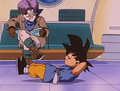 Goku doing situps and Trunks reading Cosmo