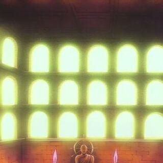 Il doujo all'interno del tempio.