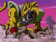 Baby Vegeta Ōzaru Dorado destruyendo la ciudad