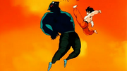 Goku kicks Garlic Jr