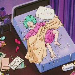 Bulma che dorme alla Capsule Corporation.