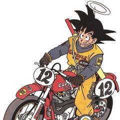 Un'illustrazione a colori con Goku su una moto da cross.