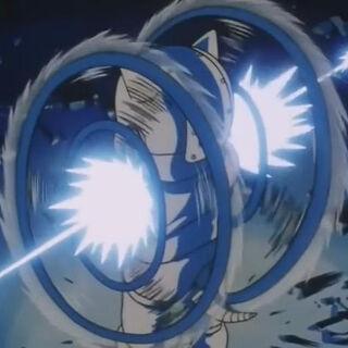 L'attacco delle Braccia Rotanti di Luud colpito dalle Kamehameha di Goku e Trunks.