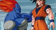 13 sosteniendo a Goku que esta gravemente herido