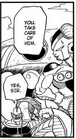 Mecha-Frieza orders Iru (stands next to Fisshi) to attack Future Trunks - Dragon Ball Manga chapter 331, DXRD