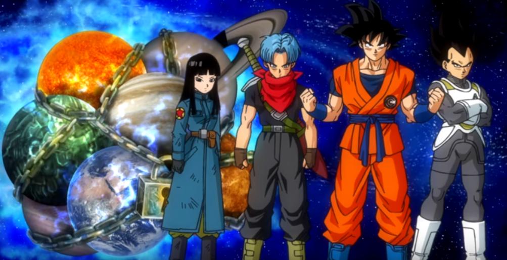 Super Dragon Ball Heroes - Goku, Vegeta, Trunks and Mai in Prison Planet