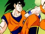 Son Gohan, Kurilín, Son Goku y Vegeta vs. Ginyu