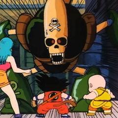 Il Robot Pirata attacca Son Goku, Crilin e Bulma.
