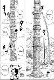 Goku begins climbing up Korin Tower