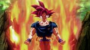Goku se transforma en Super Saiyan Dios