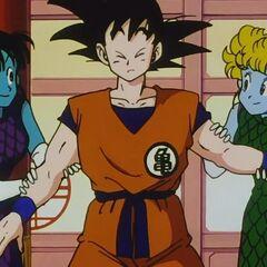 Le ancelle trattengono Goku.
