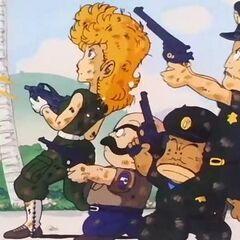 Il corpo di polizia del Villaggio Pinguino con le loro armi.