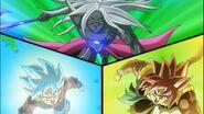 Shiirasu Coalescente contra Beat Azulado y Gogeta Xeno SS4