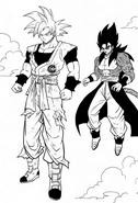 Son Goku egoísta y Vegetto Xeno Super Saiyan 4 manga
