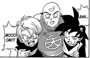 Tien & Trunks & Goten during Battle of Gods Saga manga chapter 3