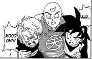 Tien & Trunks & Goten during Battle of Gods Saga manga chapter 3