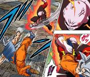 Jiren grabs Goku