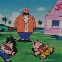 Muten, Goku e Crilin alla Kame House.