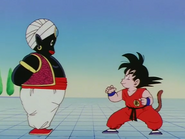 Mr. Popo y Goku entrenando