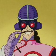 Tao Pai Pai cyborg con il suo casco con occhialini.