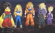 Beat junto Goku SSJ3, Vegeta SSJ3, Mirai Trunks SSJ3 Y Teen Gohan SSJ2