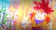 Goku SSJD sobre la cuidad