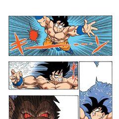 Goku raccoglie l'energia della Genkidama (manga)