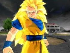 Goku about to do a dragon fist in BT3