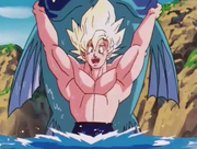 Goku prende un grosso pesce