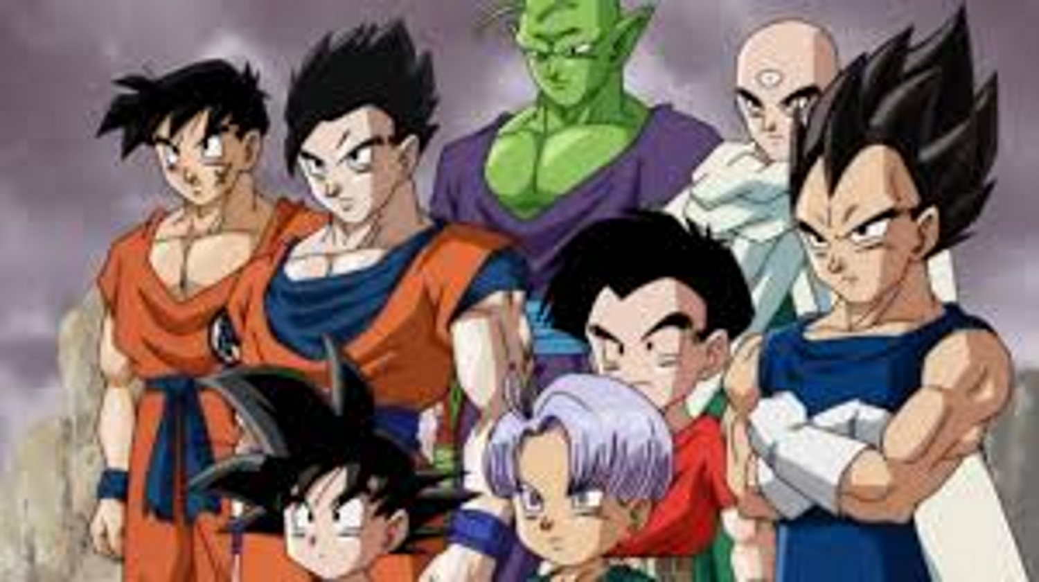 image z fighters stands in front of the majin buu threat in dragon