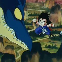 Son Goku affronta lo pterodattilo che ha rapito Bulma.