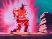 Goku apunto de hacer el KameHameHa Kaio Ken x4