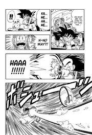 Goku fires Kamehameha to propel the submarine