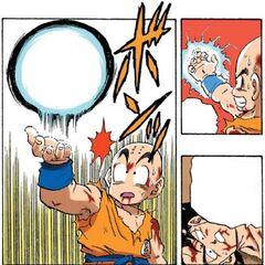 Crilin riesce a controllare la Genkidama da lanciare contro Vegeta (manga)