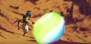 Gogeta lanzando el Rompedor de Polvo Estelar a Broly