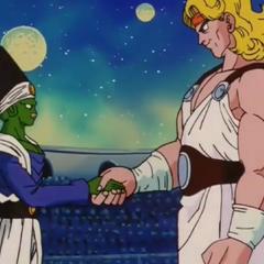 Paikuhan e Olibu si stringono la mano.