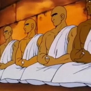 I discepoli del Re Chappa nel tempio.
