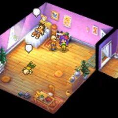 L'interno della Kame House in <i>Attack of the Saiyans</i>.