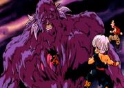 Bio-Broly Forma Gigante contra Goten, Trunks y Krilin