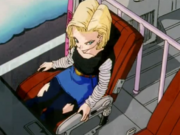 Android 18 in a chair
