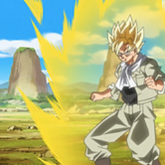 Goku si allena trasformato in Super Saiyan