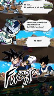 Future Goku confronts Future Mecha Frieza in Dokkan Battle