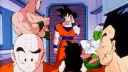 Son Goku raggiunge gli amici sulla navicella