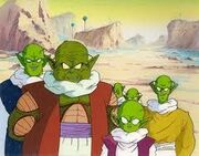Namekians greeting the Z Fighters
